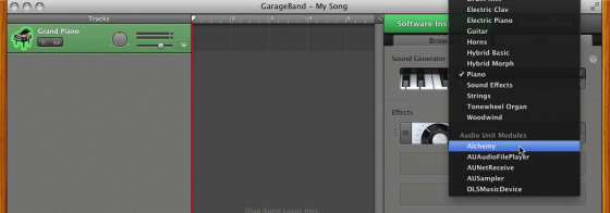 Selecting Alchemy in GarageBand